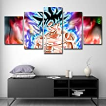 JSYCX Prints on Canvas 5 Pieces Wall Art Picture Dragon Ball Z Goku Wall Art Printing Photo Image Canvas Prints Modern HD Artwork for Living Room Bedroom Home Decorations(Frameless),L