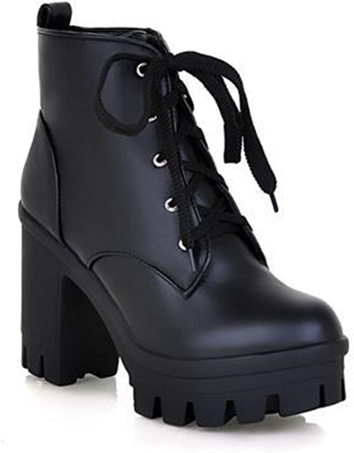 Marvin Cook Fashion Sexy Women's Ankle Boots Lace Up High Heels Punk Platform Autumn Winter Snow Boots