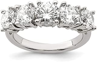 925 Sterling Silver 5 Stone Cubic Zirconia Cz Band Ring Fine Jewelry For Women Gift Set