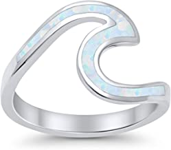 Blue Apple Co. Wave Ring Band Swirl 925 Sterling Silver Choose Color Created Simulated Opal