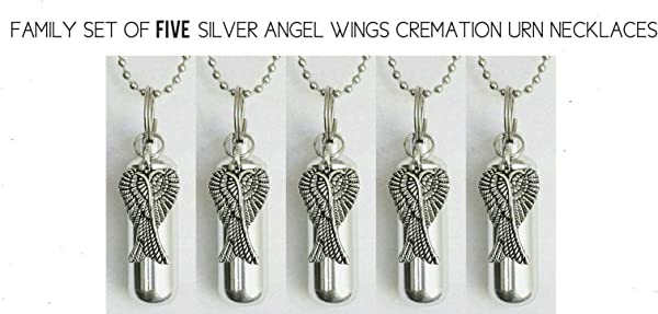 Pasco Specialty Products Family Set Five Silver Angel Wings Cremation URNS Includes Velvet Pouches Ball Chain Necklaces Fill Kit Made In The USA