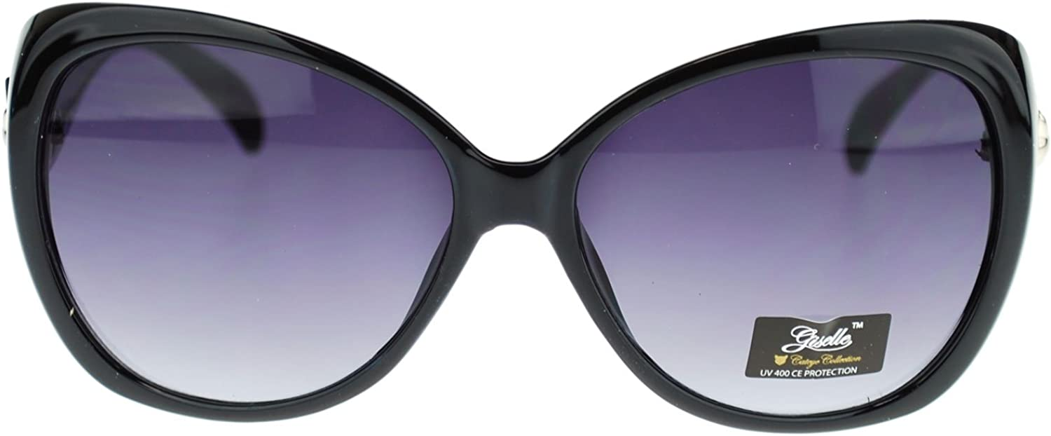 Giselle Womens Thick Plastic Butterfly Cat Eye Diva Fashion Sunglasses Black