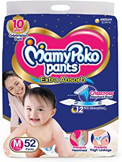 MamyPoko Pants Extra Absorb Diaper, Medium, 52 Count (Pack of 1)