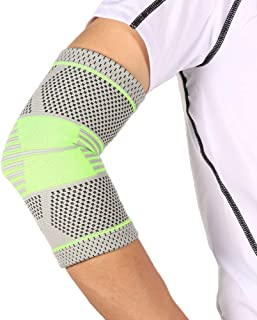 Elbow Brace, Elbow Support, Men and Women Breathable Sweat-Absorbent Arm Guard Gray Green Badminton Fitness Elbow Protecto...