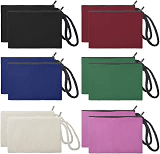 Aspire 12-Pack 100% Cotton Canvas Wristlet Bags Assorted Color Bags Party Favor