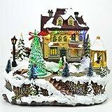 SHATCHI Gran Navidad LED Musical luz Up Escultura Set de Belén de Navidad decoración para el hogar