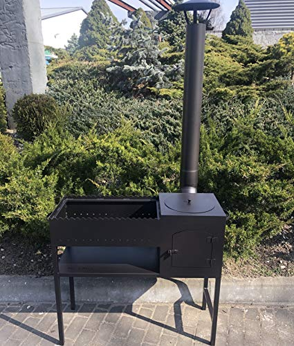 DM Grill GR008 Black Steel Mangal 3 mm Thickness BBQ Heater Outdoor Chimney
