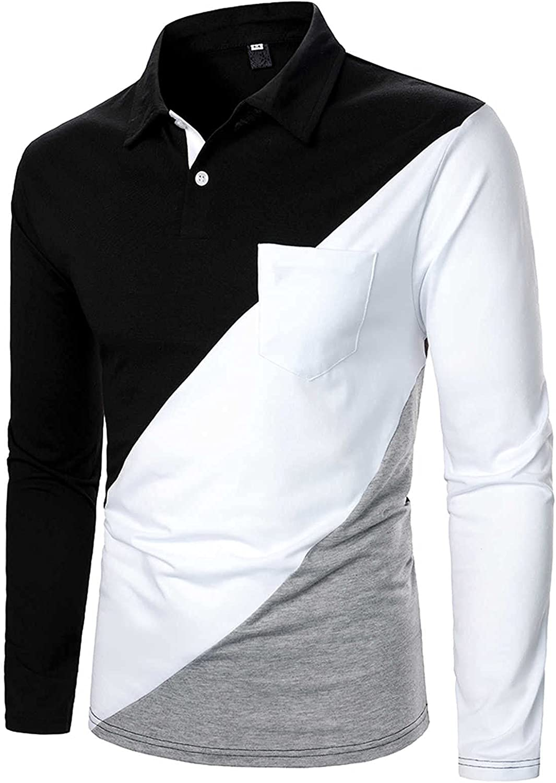 FORUU Long Sleeve Shirts 2021,Elegant Polo Shirts Color Block Shirts Plaid Casual Fashion Lapel Mens Button Down Shirts