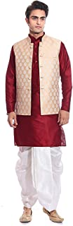 Tag 7 Men's Silk Blend Kurta Dhoti With Jacket Sets 44 Red