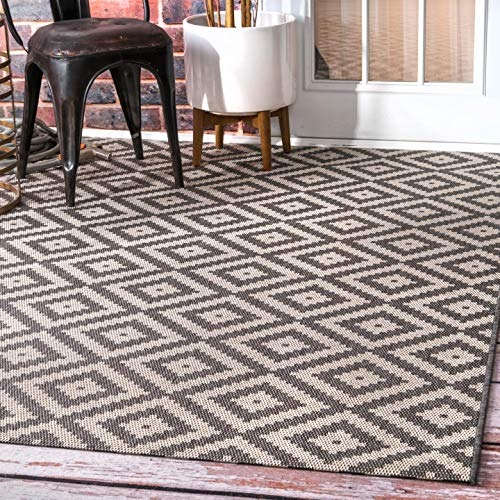 nuLOOM Marybelle Tribal Diamond - Alfombra para Exteriores (1,43 x 15,24 cm), Color Gris