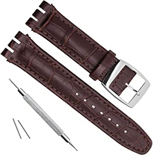 Alligator Grain Cow Leather Stainless Steel Buckle Watch Band Strap for Swatch (17mm, Brown)