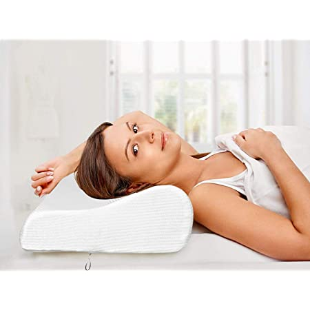 Proliva Contour Memory Foam Pillow, Adjustable Pillow for Seelping, Ergonomic Cervical Pillows for Neck Pain, Neck Support for Back, Anti-Allergy, Pillow for Pain Relief, Bed Pillows with Cover
