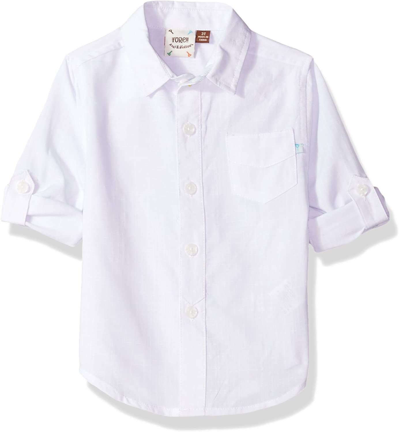 Fore Miami Mall Axel Hudson Boys' Cuff Max 40% OFF Shirt White Rolled
