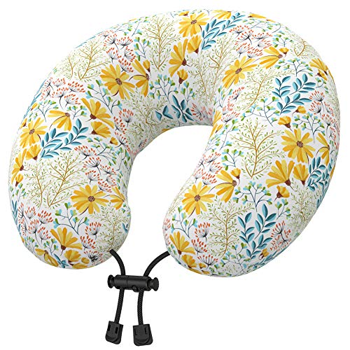Nobildonna Latex Travel Neck Pillow with Cute Cartoon Cover for Toddlers Kids Girls, U Shaped Head Chin Support Flight Pillow for Airplane, Car Sleeping or Recliner Chair Napping (Dinosaurs)