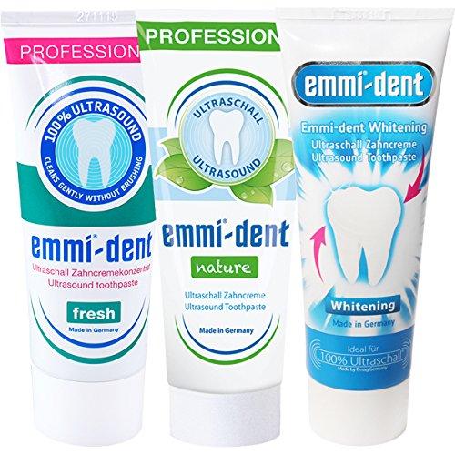 Emmi-dent Ultraschall Zahnpasta Probierpaket mit 3 Sorten (3x 75ml Tube)
