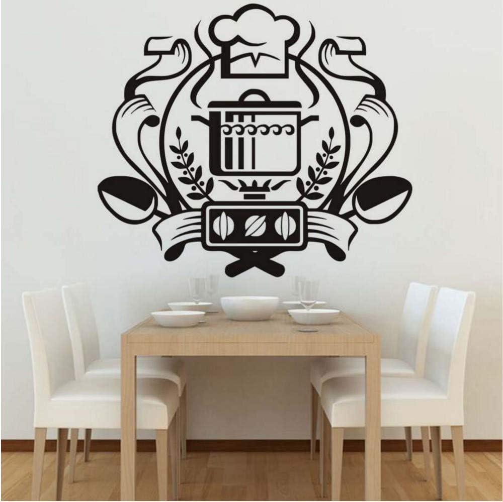 Presupuesto; Chef Badge Etiqueta de la pared Decoración para el hogar Mural Art Decal Caldera en la estufa de gas Pegatinas de pared Vinilo Cocina Comedor Pegatinas66 * 58Cm