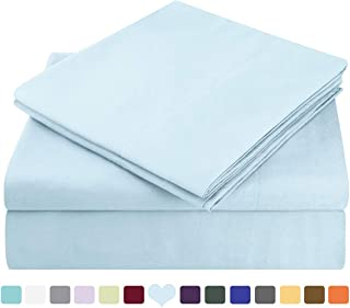 HOMEIDEAS Bed Sheets Set Extra Soft Brushed Microfiber 1800 Bedding Sheets - Deep Pocket, Hypoallergenic, Wrinkle & Fade Free - 4 Piece(Full,Baby Blue)
