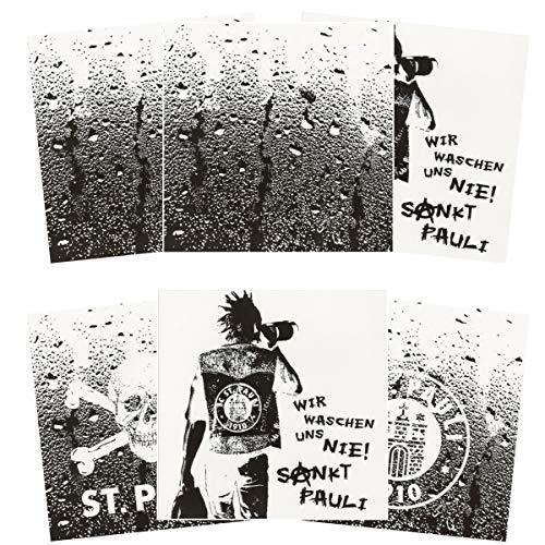 FC St. Pauli 6er Set Fliesenaufkleber Fliesenfolie Bad Küche Deko 15 x 15 cm Fliesen (3 x 2 Aufkleber) Totenkopf Logo Waschen