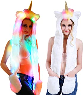 Unicorn Hat, Women Teen Girls Faux Fur Unicorn Hat with Scarf and Paw Pockets for Xmas Christmas New Year