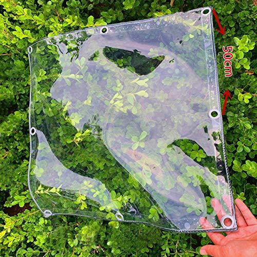 Lona Impermeable Gruesa Transparente,para Acampar Jardín PVC Vidrio Suave Resistente Al Agua 0,3mm Material Grueso,Toldo de Invernadero para Plantas Al Aire Libre,400g/M² (1.7x3.9m/5.6x12.8ft)