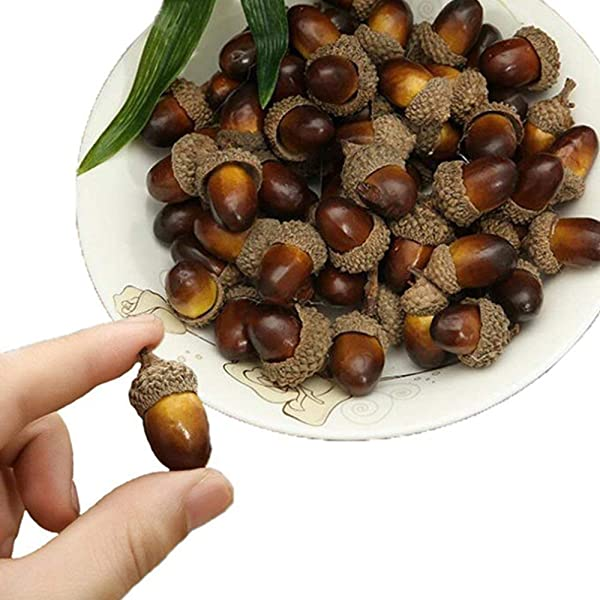 BigOtters Artificial Acorn 100PCS Fake Nutty For Home Vase Filler Decor 1 2 X 0 8