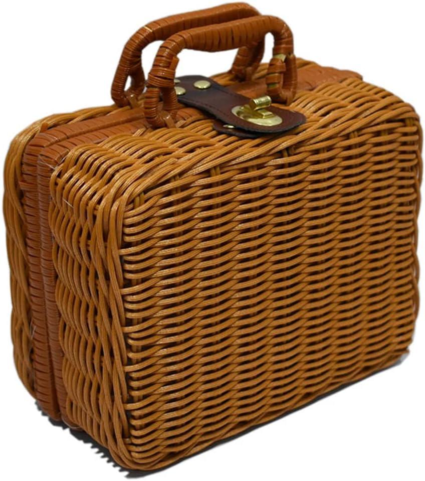 BTYAY Vintage Suitcase Woven Storage Basket Rattan New York Super intense SALE Mall Case