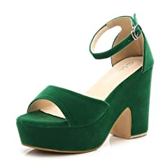 c0cee73bdd6 CAMSSOO Women s Solid Color Open Toe Ankle Strap High Heels W ..