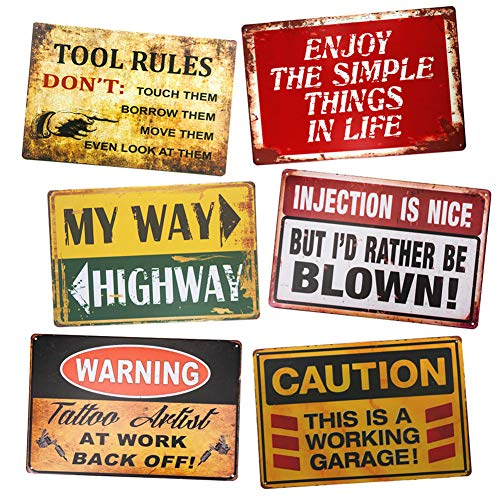 Yunuo Tool Rules Vintage Tin Sticker Metal Signs Rustic Kitchen Home Outdoor Wall Decoration 6 pcs (F)