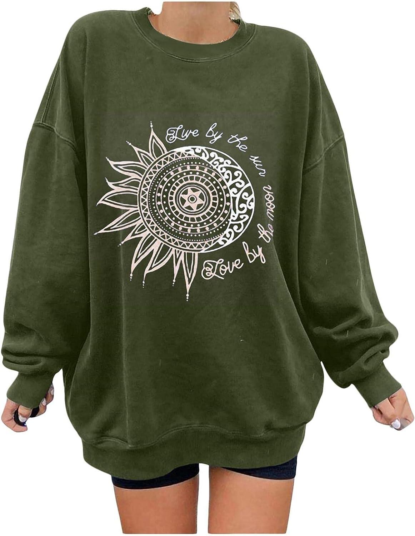 Oversized Sweatshirts for Women Trendy, Womens Top Retro Sun And Moon Printed Sweatshirt Long Sleeve Pullover Hoodies