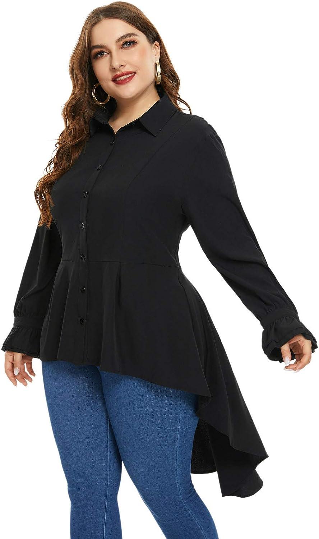Steampunk Plus Size Clothing & Costumes Hanna Nikole Womens Plus Size Victorian Blouse High Low Hem Renaissance Blouse Buttons Shirt  AT vintagedancer.com