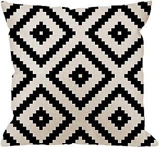 HGOD DESIGNS Graphic Arrangement Pillow Case,Black White Diamond Grid Pixel Cotton Linen Cushion Cover Square Standard Home Decorative Men/Women 18x18 inch White Black