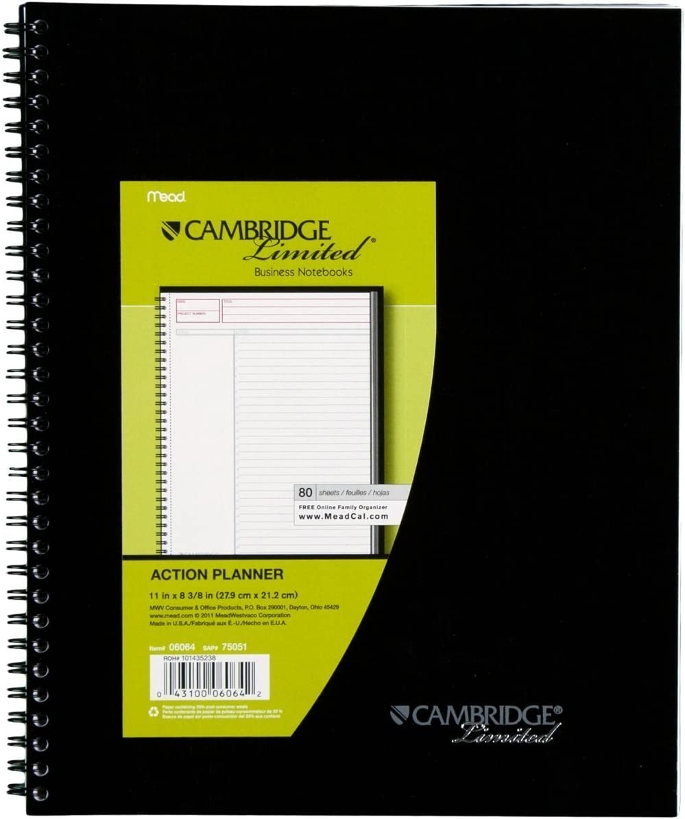 Amazon Com Mead Cambridge Business Planner Notebook Black Pack Of 6 Office Products