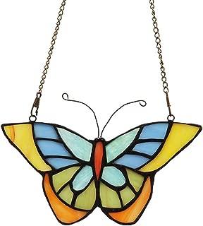 Makenier Tiffany Style Stained Glass Butterfly Window Hanging Sun Catcher