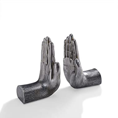 Danya B. NY8003SIL Contemporary Book Shelf Decor - Helping Hands Bookend Set (Set of 2) - Antique Silver