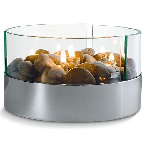 Philippi 123072Burn Cheminée de table ronde aluminium et verre Dimensions: 20x 20x 13cm