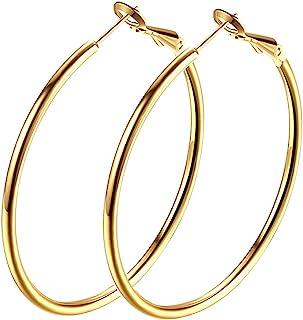Hoop Earrings, 18K Gold Plated Rounded Hoops Earrings for Women