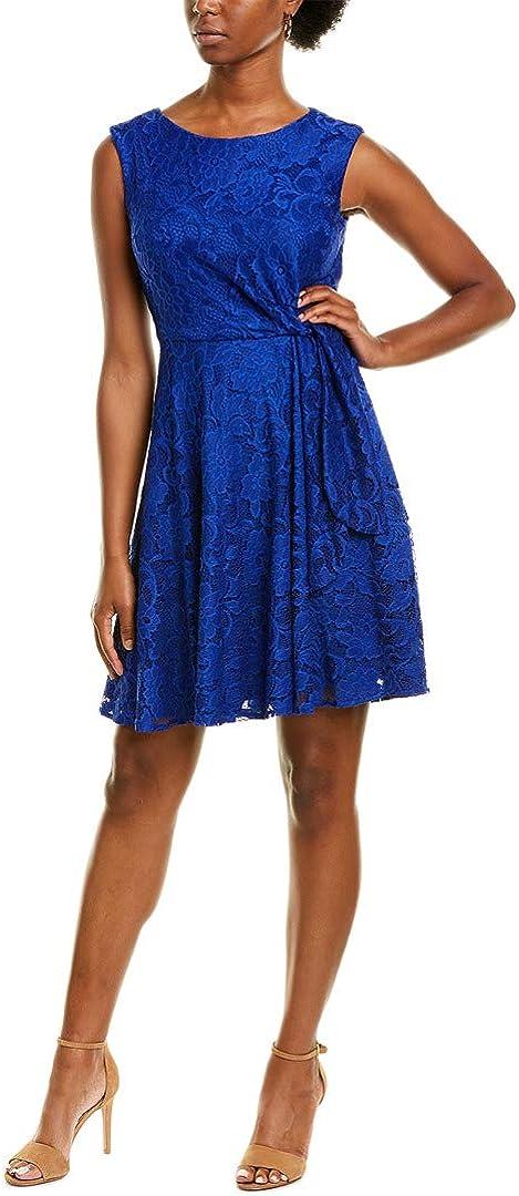 Tahari ASL Women's Sleeveless Lace Side Tie A-line Dress