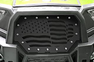 300 Industries Steel Grille Replacement for Polaris RZR 1000 & S 900 (2014-2018) - Single Piece Powder Coated Satin Black - American Flag