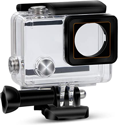 Yimobra Waterproof Housing Case for Gopro Hero 4 and Hero 3+ with Quick Release Mount and Thumbscrew Protective 147FT/45M Underwater Photography Dive Hero Transparent (Presented One More Clip)