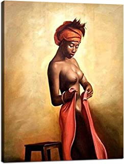 Yatsen Bridge Sexy Naked African Americans Girl Printed Painting on Canvas Wall Art Nude Prints Picture Home Decoration Hotel Framed(24''W x 32''H)