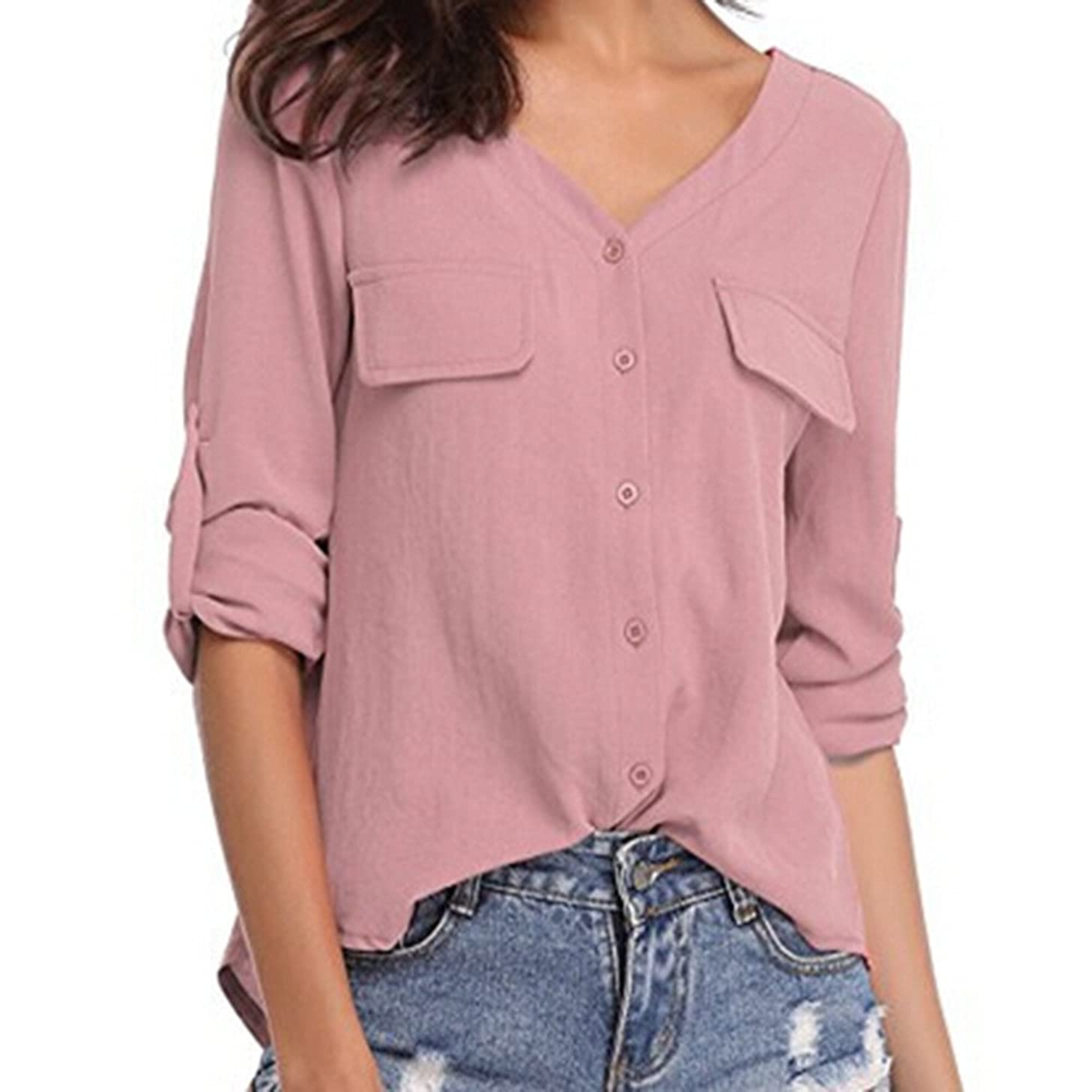 HimTak New Women's Casual Solid Color Long-Sleeved Casual Bottoming t-Shirt Button Chiffon v-Neck Wild Repair Shirt