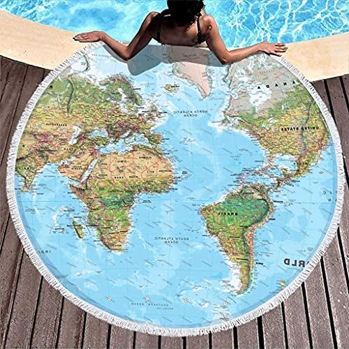 Mapa del Mundo Toalla de Playa Redonda Duradera con Estampado Interesante con borlas Manta de Playa Redonda con Flecos Coloridos Blanco 59 pulgadas-Blanco-59 Pulgadas