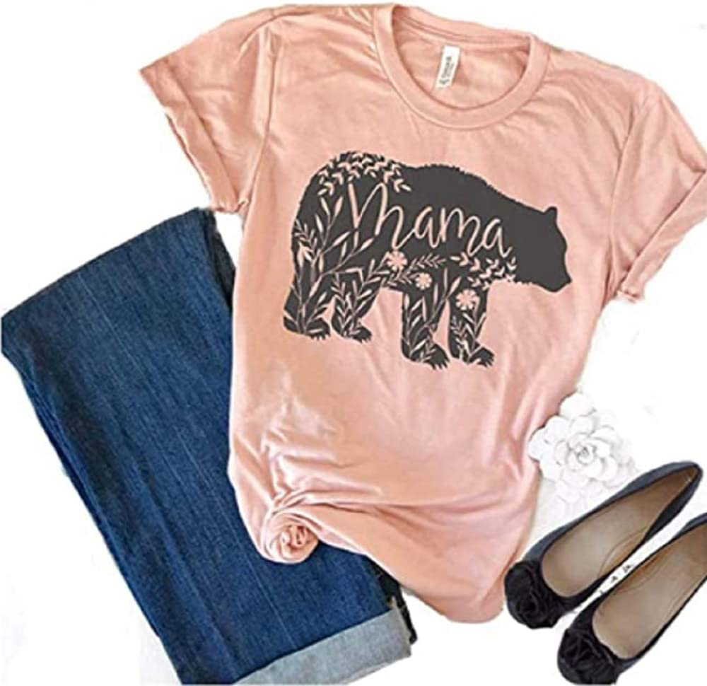 Womens Mama Bear Letter Printed Short Sleeve T-Shirts Casual Round Neck Loose Tops