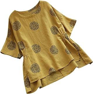 AOJIAN Blouse Women Half Sleeve T Shirt Vintage Cotton Linen Plus Size Boho Tees Tank Shirts Tops