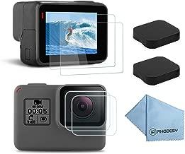 Rhodesy 6 PCS Screen Protector for GoPro Hero 7 Black Hero 6 Hero 5 Hero 2018 Tempered Glass Lens Protector Cap Cover Accessories for GoPro Hero7 Hero6 Hero5 Hero Action Camera