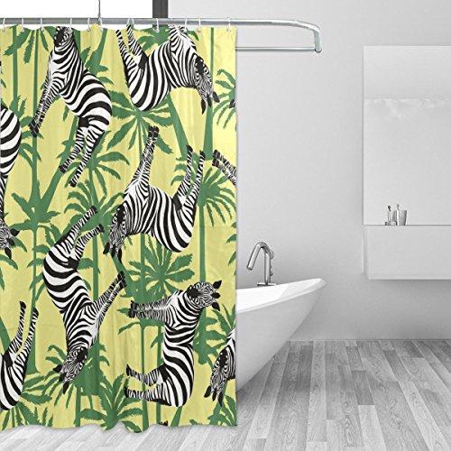 jstel Zebra Duschvorhang Schimmelresistent & Polyester-Wasserdicht-182,9x 182,9cm für Home Extra Lang Badezimmer Deko Dusche Bad Gardinen Liner mit 12Haken