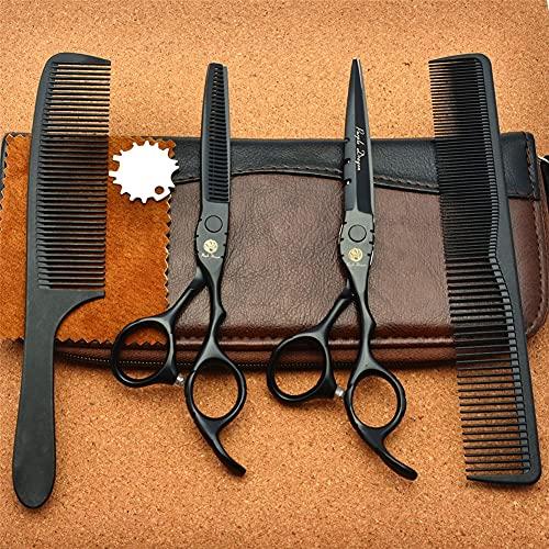 LDLD Juego de Tijeras de Corte de Pelo de 5,5/6,0 Pulgadas, Tijeras de Corte de peluquería y Tijeras de Adelgazamiento de Peluquero, Juego de Tijeras de peluquería con Bolsa,6.0 Inches
