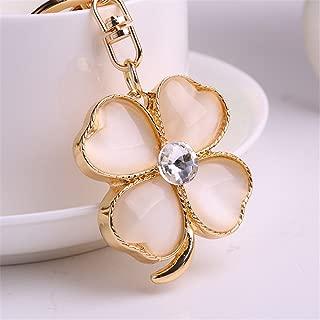 Green Four Leaf Clover Shape Key Ring Key Chain Irish Lucky Charm Keychain (Gold)