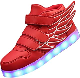 LED Light Up Hi-Top Wings Shoes USB Rechargeable Flashing Sneakers for Toddlers Kids Boys Girls