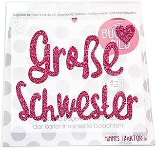 GLITZER Bügelbild große Schwester mit Herz 12,5 cm, Farbe:Glitzer pink